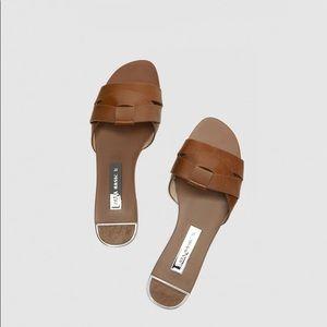 Zara Tan leather slides